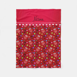 Personalized name red owls flowers ladybugs fleece blanket