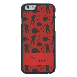 Personalized name red paintball pattern carved® maple iPhone 6 slim case