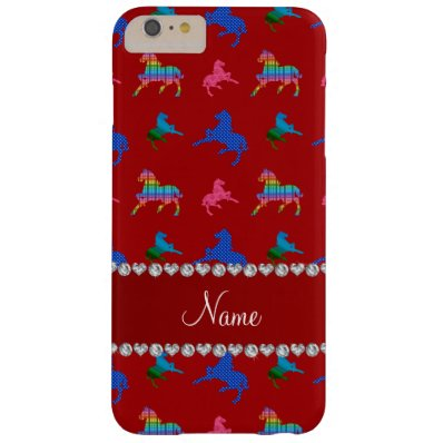 Personalized name red patterned horses barely there iPhone 6 plus case