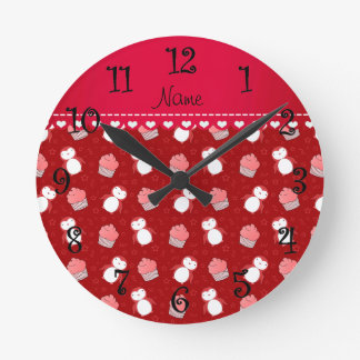 Personalized name red penguins cupcakes stars round clock