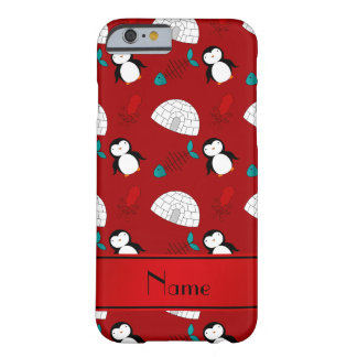 Personalized name red penguins igloo fish squid barely there iPhone 6 case