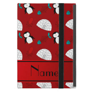 Personalized name red penguins igloo fish squid cover for iPad mini