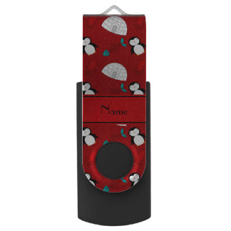 Personalized name red penguins igloo fish squid flash drive
