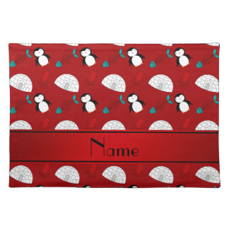 Personalized name red penguins igloo fish squid placemat