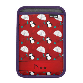 Personalized name red penguins igloo fish squid sleeve for iPad mini