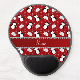 Personalized name red penguins igloos snowflakes gel mouse pad