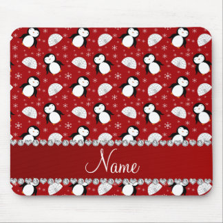 Personalized name red penguins igloos snowflakes mouse pad