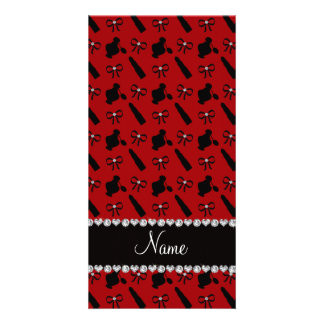 Personalized name red perfume lipstick bows photo card