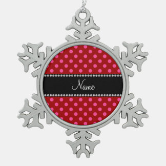 Personalized name red pink polka dots snowflake pewter christmas ornament