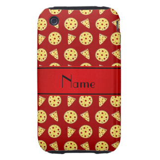 Personalized name red pizzas iPhone 3 tough cover