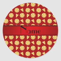 Personalized name red pizzas round stickers