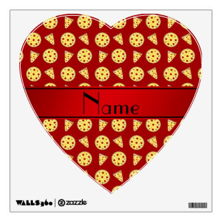 Personalized name red pizzas wall decal