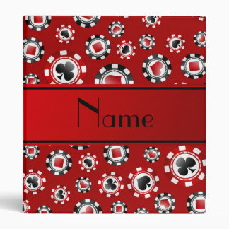 Personalized name red poker chips 3 ring binders
