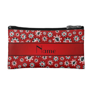 Personalized name red poker chips cosmetic bag