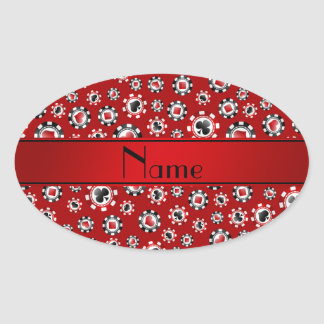 Personalized name red poker chips oval sticker