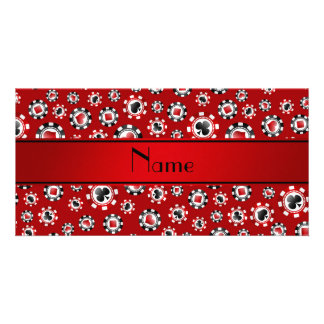 Personalized name red poker chips personalized photo card