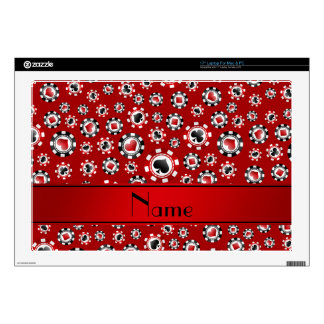 "Personalized name red poker chips decal for 17"" laptop"