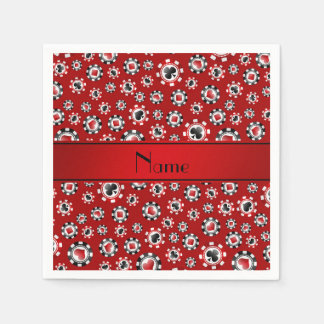 Personalized name red poker chips disposable napkins