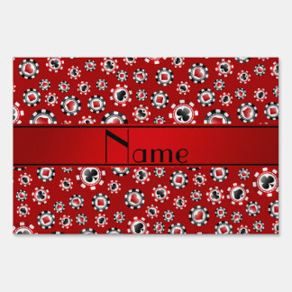 Personalized name red poker chips yard signs