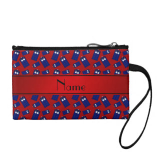Personalized name red police box change purse