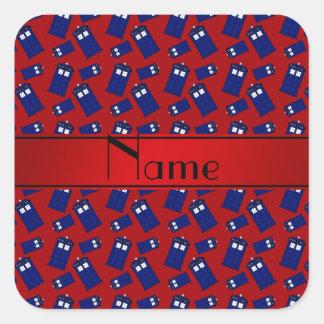 Personalized name red police box red stripe square sticker