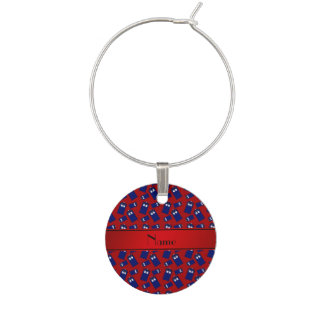 Personalized name red police box red stripe wine glass charms