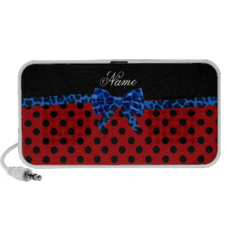 Personalized name red polka dots blue leopard bow laptop speakers