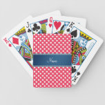 Personalized name red polka dots blue stripe bicycle playing cards