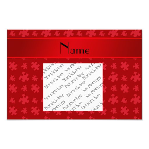 Personalized name red puzzle photo