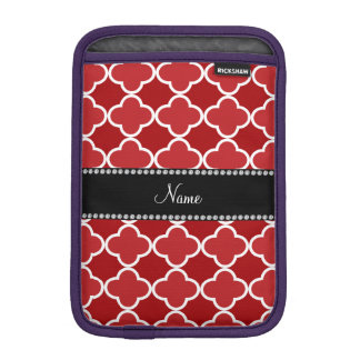 Personalized name Red quatrefoil pattern iPad Mini Sleeves