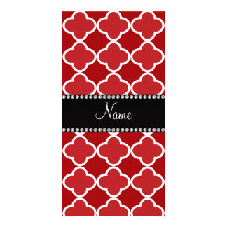 Personalized name Red quatrefoil pattern Photo Card
