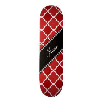 Personalized name Red quatrefoil pattern Custom Skate Board