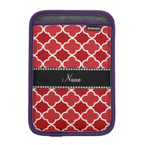 Personalized name Red quatrefoil pattern Sleeve For iPad Mini