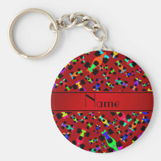 Personalized name red race car pattern basic round button keychain