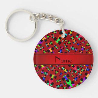 Personalized name red race car pattern Single-Sided round acrylic keychain