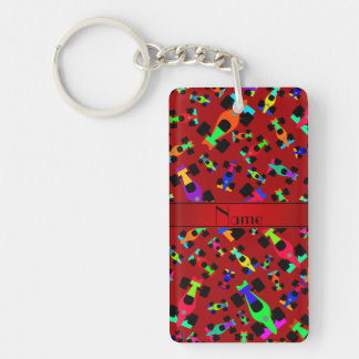 Personalized name red race car pattern Double-Sided rectangular acrylic keychain