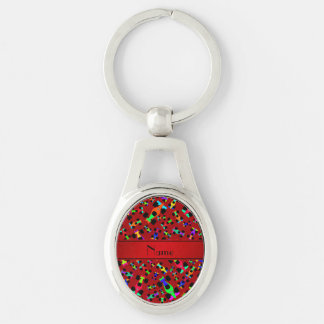 Personalized name red race car pattern Silver-Colored oval metal keychain