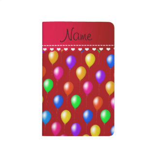 Personalized name red rainbow birthday balloons journal