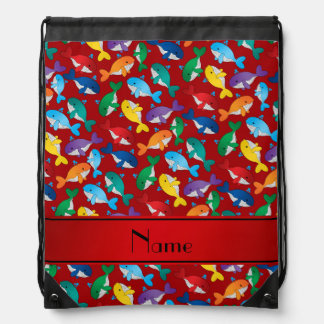 Personalized name red rainbow blue whales drawstring bag