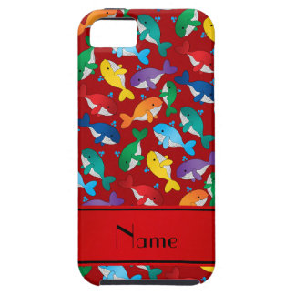 Personalized name red rainbow blue whales iPhone SE/5/5s case
