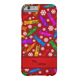Personalized name red rainbow bobsleigh snowflakes barely there iPhone 6 case