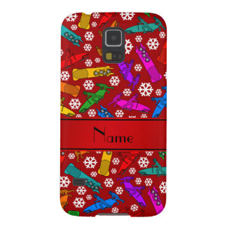 Personalized name red rainbow bobsleigh snowflakes case for galaxy s5