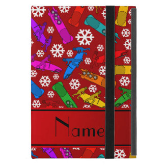 Personalized name red rainbow bobsleigh snowflakes case for iPad mini
