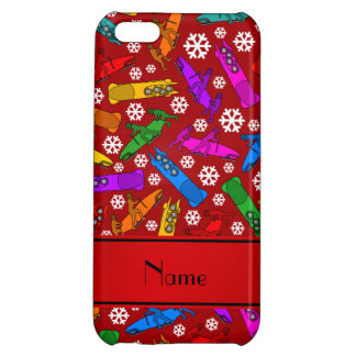 Personalized name red rainbow bobsleigh snowflakes case for iPhone 5C