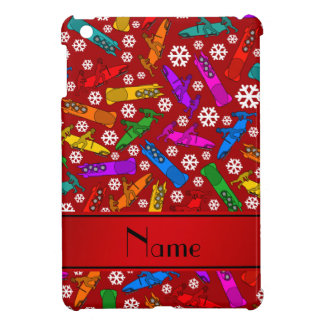 Personalized name red rainbow bobsleigh snowflakes case for the iPad mini