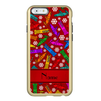 Personalized name red rainbow bobsleigh snowflakes incipio feather® shine iPhone 6 case