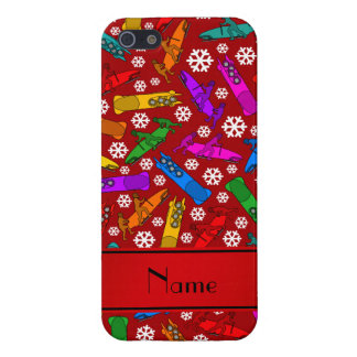 Personalized name red rainbow bobsleigh snowflakes iPhone SE/5/5s cover