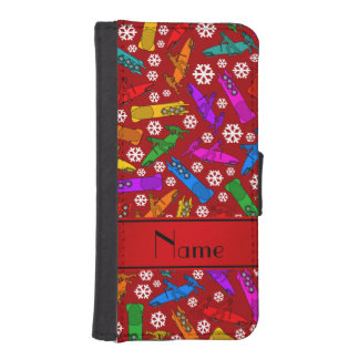 Personalized name red rainbow bobsleigh snowflakes iPhone SE/5/5s wallet case