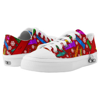 Personalized name red rainbow bobsleigh snowflakes Low-Top sneakers