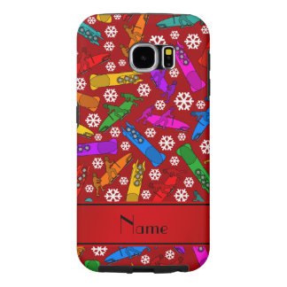 Personalized name red rainbow bobsleigh snowflakes samsung galaxy s6 case